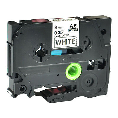 """1PK TZ-221 TZe-221 Black on White Label Tape For Brother P-Touch 3/8"""" 9mm"""