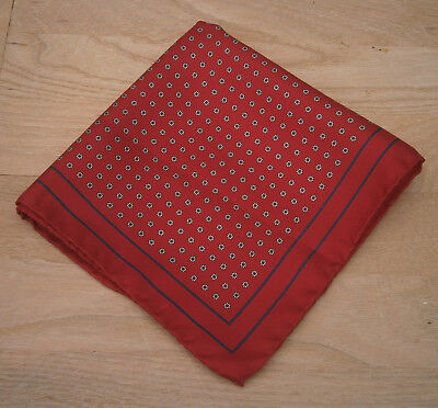 Vintage Red & Navy Blue Polka Dot Silk Handkerchief Hankie Pocket Square
