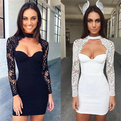 Women's Long Sleeve Lace Mini Dress V Neck Evening Party Bodycon Prom Dresses