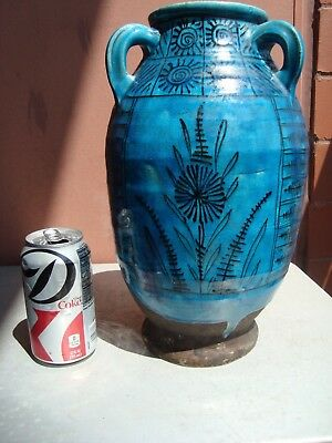 """Lachenal France (Attrib.) Turquoise 12.5"""" Black Stylized Floral Vase - AS IS"""