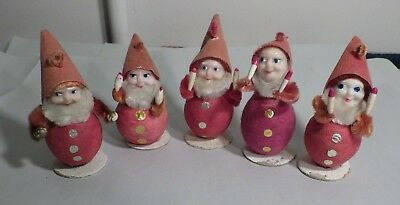 5 Vintage Santa Christmas Ornaments Plastic Faces Spun Cotton Paper Mache
