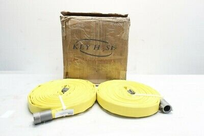 Box Of 2 Key Hose Dixon H610Y50RAF Yellow Nitrile Covered Fire Hose 50ft X 1in