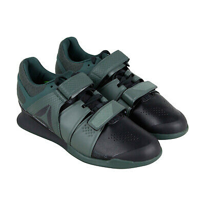 bf862be1582 Reebok Legacy Lifter Mens Black Green Leather Athletic Strap Training Shoes