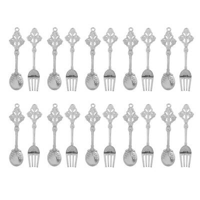 10 Pairs Silver Spoon Fork Tableware for 1/12 Dollhouse Kitchen Dining Table