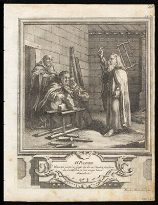St Pacomus The Great 1725 German Engraving of The Solitary or Hermit Saints
