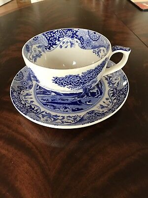 "Spode England Blue Room Collection ""Italian"" JUMBO Cup And Saucer Set"