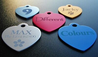 Aluminium HEART Pet ID Name Tag With Personalised Engraving, Dog, Cat, Puppy!