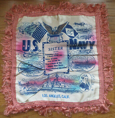 Vintage WWII Sister Pillow Cover Sham Military U.S. Navy Los Angeles CA