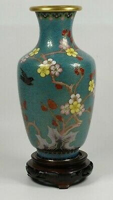 Chinese Cloisonné Vase With Cherry Blossom And Bird Motifs Design - Wood Base