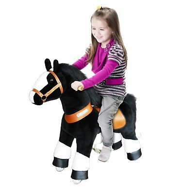 PonyCycle Ride On Toy Horse Small Black Horse White Hoof for Ages 3-5 Years