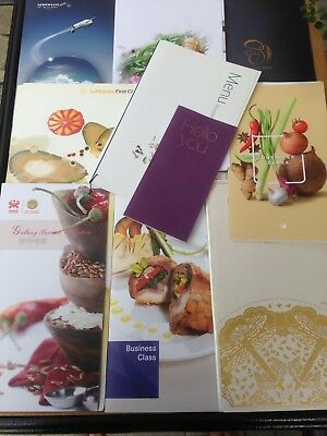 First Class and Business Class Airline Menus to/from Asian Cities