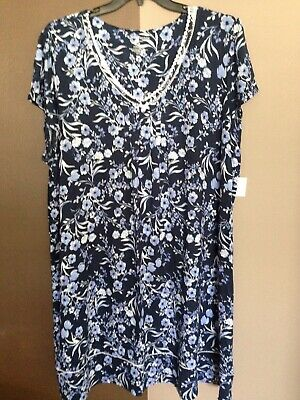 1d9b52f332 WOMANS CROFT BARROW NIGHTGOWN PAJAMAS SIZE 3X NWT NAVY BLUE FLORAL S S 41