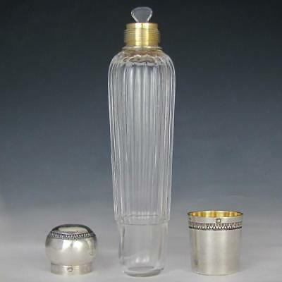 Antique French Sterling Silver & Cut Crystal Opera Travel Liquor Flask Bottle