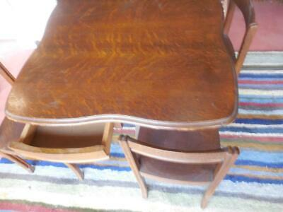 RARE School Desk for 4 Antique Oak 1 table 4 chair set-perfectly fits together +