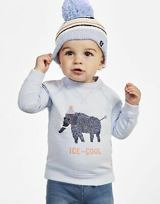 Joules Artie Brushback Sweatshirt 6 9 in Blue Ice Cool Mammoth Size 6min9m