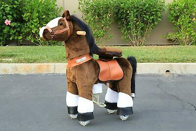 PonyCycle Ride On Toy Horse Chocolate Brown White Hoof Small for Ages 3-5 Years