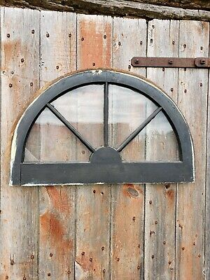 Antique Vintage Arched Half Moon Wood Window Sash Architectural Salvage 28 x 18