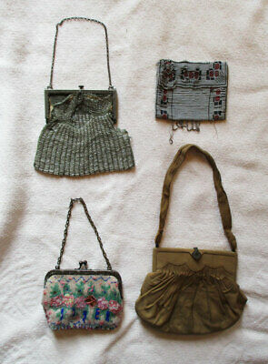 Lot of 4 Antique Vintage Purses Handbags Bags Some Beaded for Parts, Repair
