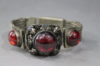 Chinese Exquisite Miao Silver Carve Butterfly Inlay Red Jade Noble Bracelet