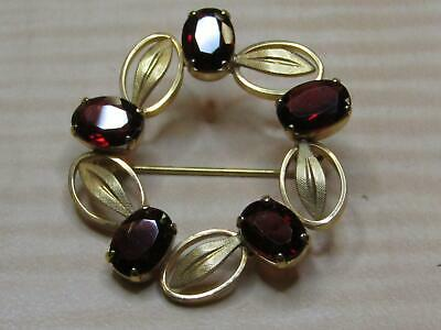 Vintage Van Dell 14K Yellow Gold Jewelry Red Stone Leaf Wreath Pin Brooch