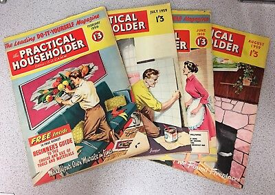 Practical Householder Vintage Magazines. February, June, July, August 1959