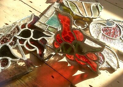 Lot Reclaimed Victorian Stained Glass Pieces,Lead Colored Panes,Church Salvage,