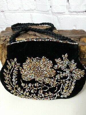 Vintage Black 1940s Velvet Beaded Embroidered Purse or Clutch