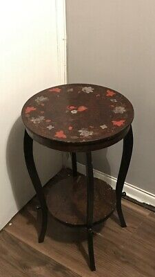 Beautiful Antique Round Side/wine/occasional Table With Floral Design Rare