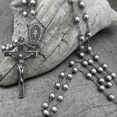 Vintage Old Antique ALL Solid Sterling Silver Rosary Beads Crucifix Long Di Roma