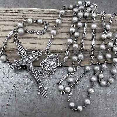 "Vtg Antique ALL Solid Sterling Silver Rosary Beads Crucifix 23.50"" LONG Ornate"