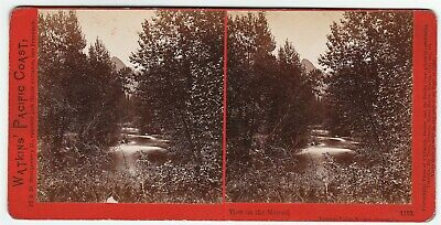 RARE Stereoview Photo - Watkins - Merced River Yosemite Park California  1865