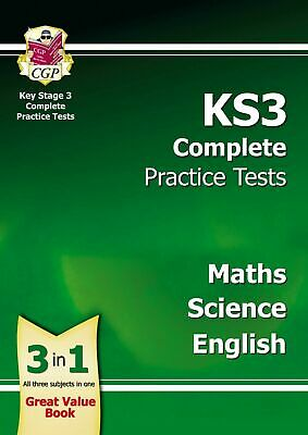 New For 2020 Ks3 3-In-1 Sats Practice Tests Science Maths & English In One Book