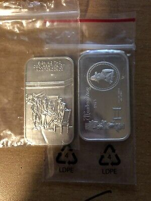 (2) 1 Troy Ounce Silver Bars. Declaration Of Independence, Thanksgiving 1973