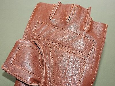 """Antique 1880s Style RUSSET LEATHER FINGERLESS """"WORKMAN"""" BASEBALL GLOVE Repro"""