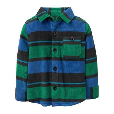 NWT All Sizes GyMbOrEe Incredi-Soft Green Fleece Button Up Long Sleeve Shirt top