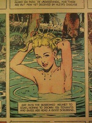 1946 Sunday Color Comics With A Prince Valiant, Here Aleta Gets Naked In Pool
