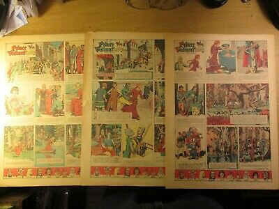 3 1946 Sunday Color Comics With 3 Prince Valiant, In One Aleta Takes A Bath