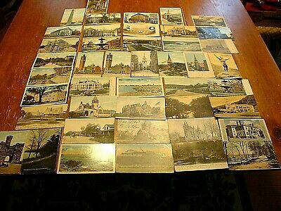 44 Antique Mass. Postcards Boston, Concord, Springfield, Taunton, Fall River ETC