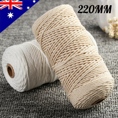 220M Beige Rope Natural Cotton Macrame Twisted Cord String Craft Artisans   !