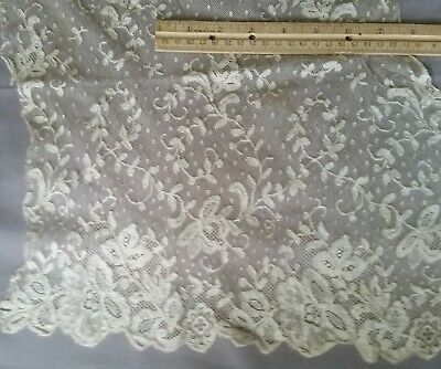 Fabulous Very Old Large Embroidered Dark Ivory Net Lace Remnant #10