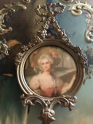 Antique Ornate French Bronze Ormolu Garland Bow Picture Frame C1900 Victorian