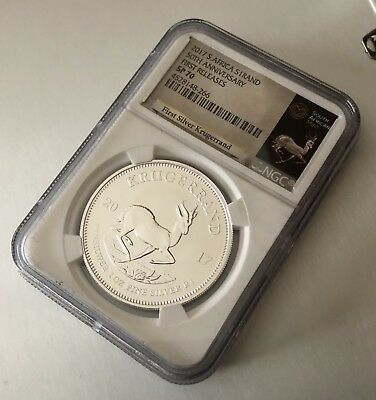 2017 South Africa 1 oz. Silver Krugerrand NGC SP70 - First Release - White Core