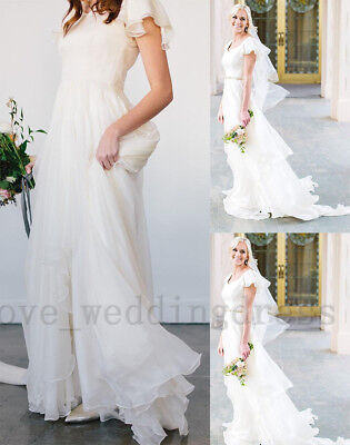 Flowy Chiffon Modest Wedding Dresses Beach Short Sleeves Beach Boho Bridal Gowns