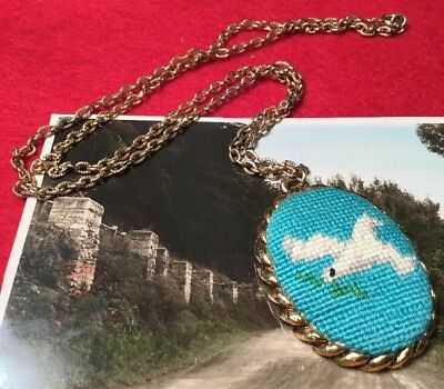 Vintage Retro 60s kitsch Festival Love Cross Stitch Peace dove Necklace