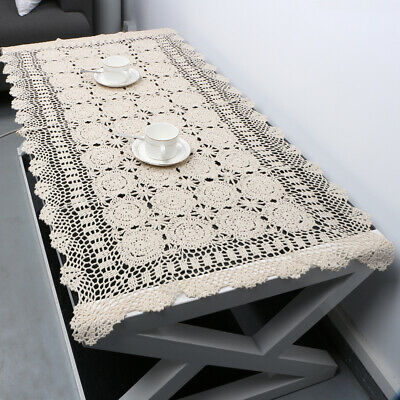 Vintage Hand Crochet Rectangle Table Cloth Doily Cotton Lace Beige Sofa Towel