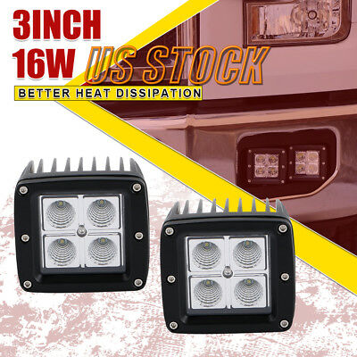 2X 3inch 16W Cube Pods Flood Beam LED Work Light Offroad Driving SUV Jeep Truck