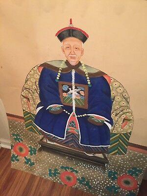 RARE 18th Century Qing Period Chinese Ancestry Portrait Large Antique