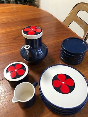 Melitta Germany 70s tea/coffee set blue red and white excellent condition