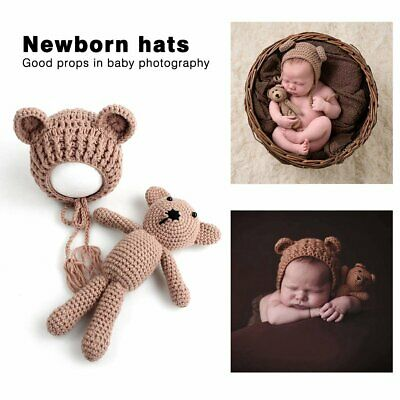 Newborn Baby Boy Girl Photography Prop Outfit Photo Knit Crochet Doll + Hat P WZ