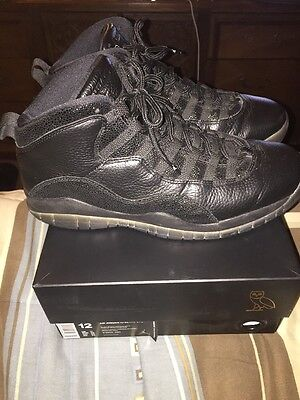f4132bd0726 NIKE AIR JORDAN X RETRO 10 OVO DRAKE BLACK METALLIC GOLD MEN S SZ 12 ...